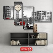 siyah-beyaz londra tablosu- saatli kanvas tablo MODEL 2 - 129x75 cm-6