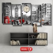 siyah-beyaz londra tablosu- saatli kanvas tablo MODEL 2 - 129x75 cm-7
