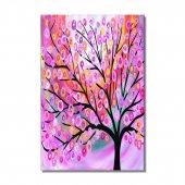 turuncu pembe halkalı ağaç  kanvas tabloları 100x70 cm