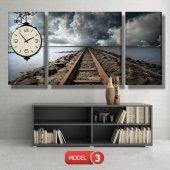 tren yolu tablosu- saatli kanvas tablo MODEL 7 - 162x75 cm