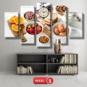 mutfak tabloları- saatli kanvas tablo MODEL 3 - 126x60 cm-2