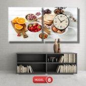 mutfak tabloları- saatli kanvas tablo MODEL 3 - 126x60 cm-8