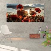 Gelincik Tarlası-Güneş Manzaralı Kanvas Tablo 60 cm x 120 cm