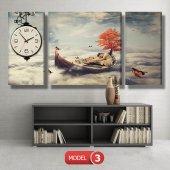 kayıktaki kız-bulutların üstünde tablolar- saatli kanvas tablo MODEL 7 - 162x75 cm-4