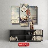 kayıktaki kız-bulutların üstünde tablolar- saatli kanvas tablo MODEL 7 - 162x75 cm-5