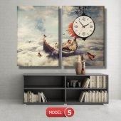 kayıktaki kız-bulutların üstünde tablolar- saatli kanvas tablo MODEL 7 - 162x75 cm-6