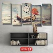 kayıktaki kız-bulutların üstünde tablolar- saatli kanvas tablo MODEL 7 - 162x75 cm-7