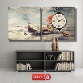 kayıktaki kız-bulutların üstünde tablolar- saatli kanvas tablo MODEL 7 - 162x75 cm-8