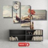 kayıktaki kız-bulutların üstünde tablolar- saatli kanvas tablo MODEL 7 - 162x75 cm