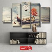 kayıktaki kız-bulutların üstünde tablolar- saatli kanvas tablo MODEL 7 - 162x75 cm-2