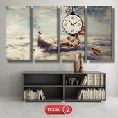 kayıktaki kız-bulutların üstünde tablolar- saatli kanvas tablo MODEL 7 - 162x75 cm-3