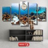 dalgıç-denizaltı tabloları- saatli kanvas tablo MODEL 2 - 129x75 cm-2