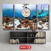 dalgıç-denizaltı tabloları- saatli kanvas tablo MODEL 2 - 129x75 cm-3