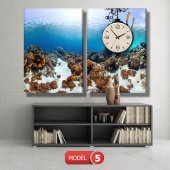 dalgıç-denizaltı tabloları- saatli kanvas tablo MODEL 2 - 129x75 cm-5