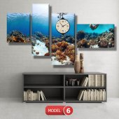 dalgıç-denizaltı tabloları- saatli kanvas tablo MODEL 2 - 129x75 cm-6