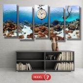 dalgıç-denizaltı tabloları- saatli kanvas tablo MODEL 2 - 129x75 cm-7
