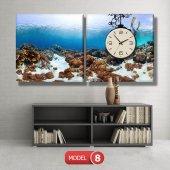 dalgıç-denizaltı tabloları- saatli kanvas tablo MODEL 2 - 129x75 cm-8