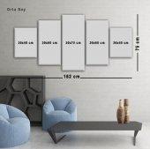 5 Parçalı Kanvas Tablo -Beyaz Gül Duvar  Tablosu BÜYÜK BOY-3