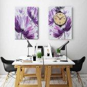 2 Parçalı Saatli Tablo Set - Çiçekli Duvar Saati 30x50 cm İkili Takım