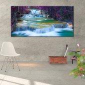 Mor Yapraklı Ağaç - Şelale Manzaralı Tablo 40 cm x 80 cm
