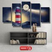 deniz feneri tablosu- saatli kanvas tablo MODEL 1 - 162x75 cm-2
