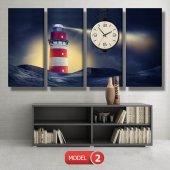 deniz feneri tablosu- saatli kanvas tablo MODEL 1 - 162x75 cm-3