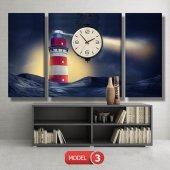 deniz feneri tablosu- saatli kanvas tablo MODEL 1 - 162x75 cm-4