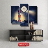 deniz feneri tablosu- saatli kanvas tablo MODEL 1 - 162x75 cm-5