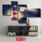deniz feneri tablosu- saatli kanvas tablo MODEL 1 - 162x75 cm-6