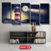 deniz feneri tablosu- saatli kanvas tablo MODEL 1 - 162x75 cm-7