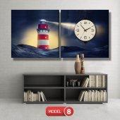 deniz feneri tablosu- saatli kanvas tablo MODEL 1 - 162x75 cm-8