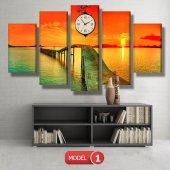 gün batımı-iskele tabloları- saatli kanvas tablo MODEL 1 - 162x75 cm-2