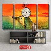 gün batımı-iskele tabloları- saatli kanvas tablo MODEL 1 - 162x75 cm-4