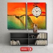 gün batımı-iskele tabloları- saatli kanvas tablo MODEL 1 - 162x75 cm-5