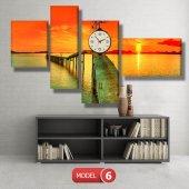 gün batımı-iskele tabloları- saatli kanvas tablo MODEL 1 - 162x75 cm-6