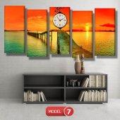gün batımı-iskele tabloları- saatli kanvas tablo MODEL 1 - 162x75 cm-7