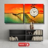 gün batımı-iskele tabloları- saatli kanvas tablo MODEL 1 - 162x75 cm-8