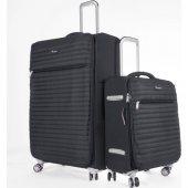 ıt Luggage Büyük Ve Kabin 2li Valiz Seti Kumaş Siyah 2148