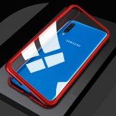 Galaxy A50 Kılıf Zore Devrim Mıknatıslı Cam Kapak + Cam Ekran Kor