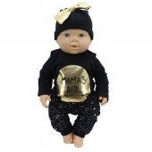 Mamas Girl Altın Yaldızlı Siyah 3 Lü Kız Bebek Takım