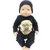 Mamas Boy Altın Yaldızlı Siyah 3 Lü Erkek Bebek Takım