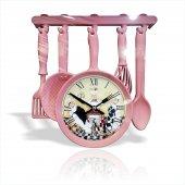 Pembe Askıda Tavalı Süzgeçli Çırpıcılı Çatallı Kaşıklı Bıçaklı Aşçılı Çeyizlik Mutfak Duvar Saati