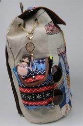 Pembe Deri Taşlı Tutacaklı Pembe Tül Etekli Çanta Anahtarlığı