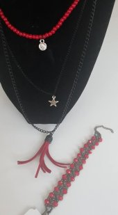 Kırmızı boncuklu uzun kolye bileklik seti-2