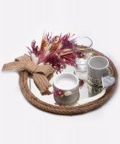 Lora Kuru Çiçekli Damat Kahve Tepsisi 20