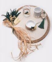 Lora Kuru Çiçekli Damat Kahve Tepsisi 18