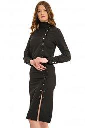 çıtçıtlı Uzun Kol Elbise Siyah 0076