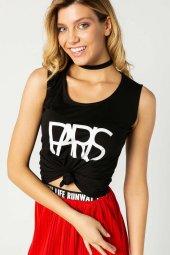 Paris Baskılı Kolsuz T Shirt Siyah 0283