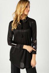 Gömlek Yaka Kolu Payetli Tunik Siyah 113