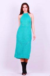 Kadın Kolsuz Triko Elbise Yeşil 0327